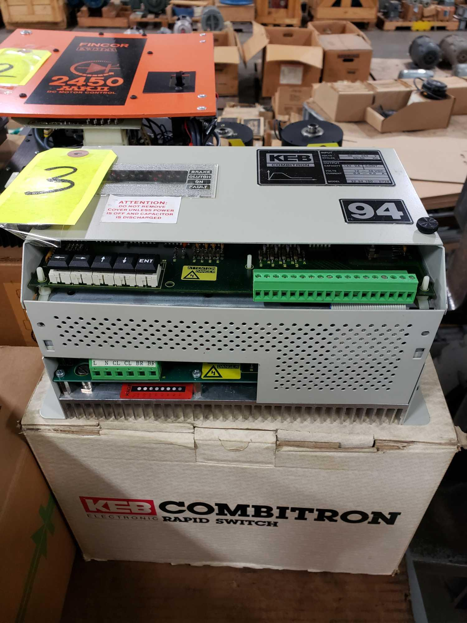 KEB Combitron drive model 32.94.100-0728. 90-264v input, 12-48vdc output. New in box.