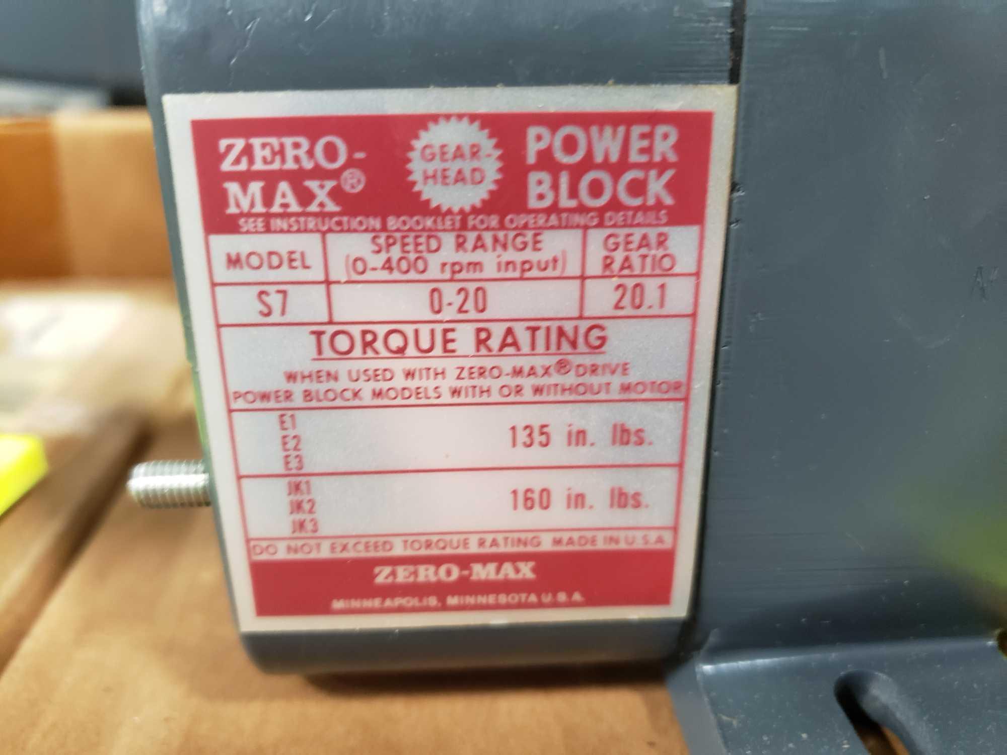 Zero-max gearhead power block model S7, 0-20 output rotation, 12lb torque, 20:1 range. New in box. - Image 2 of 3