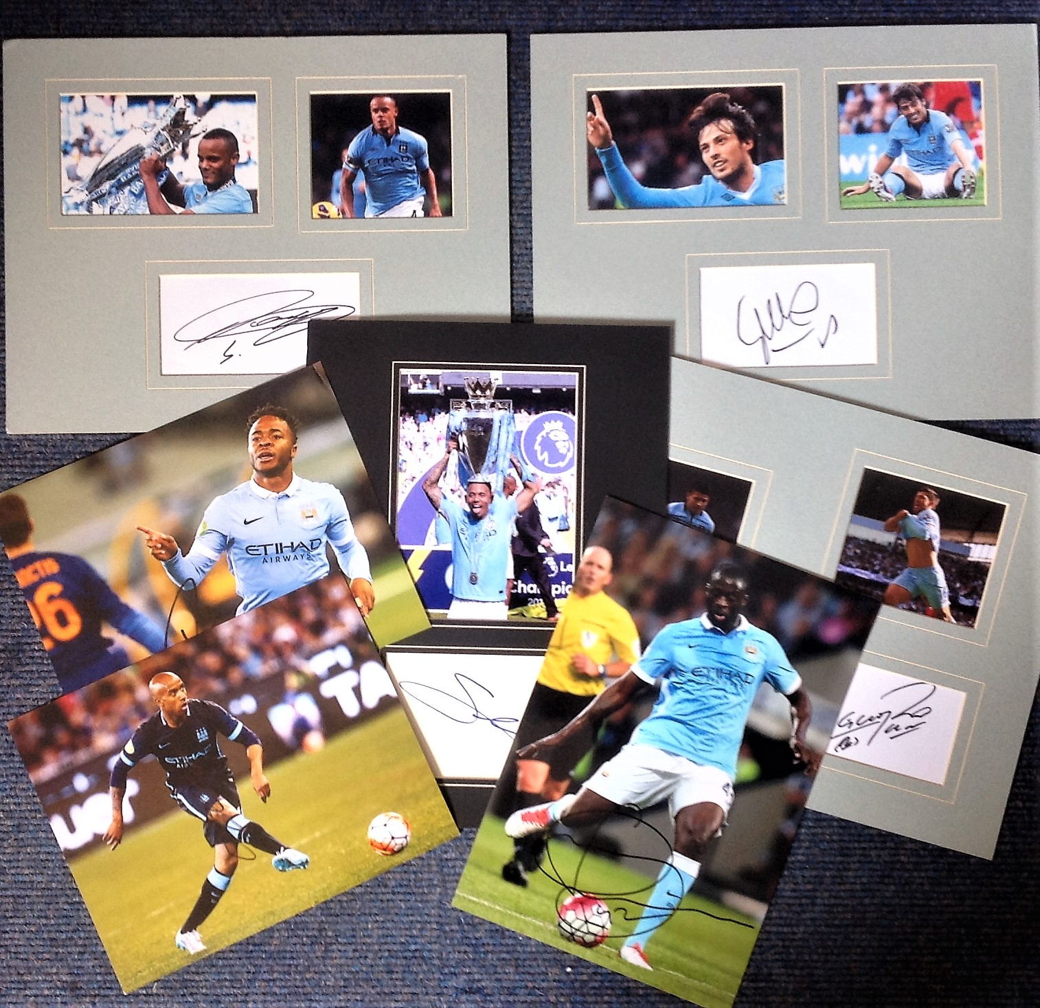 Lot 8 - Football Manchester City collection includes 4 mounted signature pieces and three signed colour