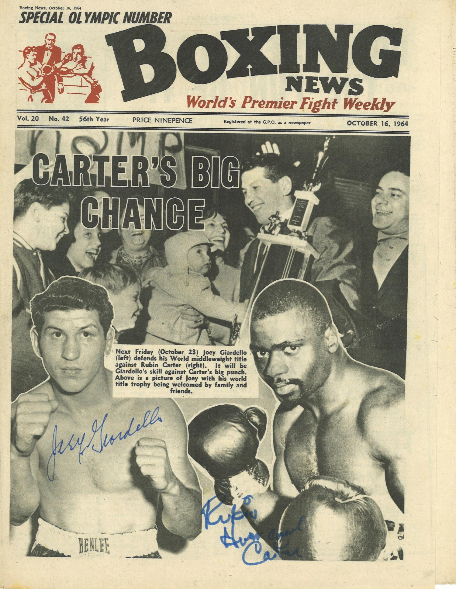 Lot 46 - Boxing News vintage newspaper 16th Oct 1964 signed on the front by Joey Giardiello and Rubin Carter.