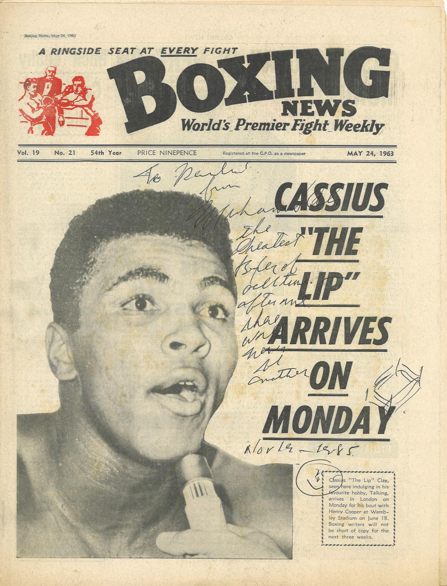 Lot 44 - Boxing News vintage newspaper 24th May 1963 signed on the front by Muhammad Ali with inscription. -.