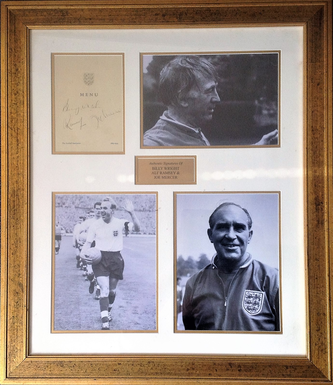 Lot 32 - Football Legends Alf Ramsey, Billy Wright and Joe Mercer signed 27x23 mounted and framed signature
