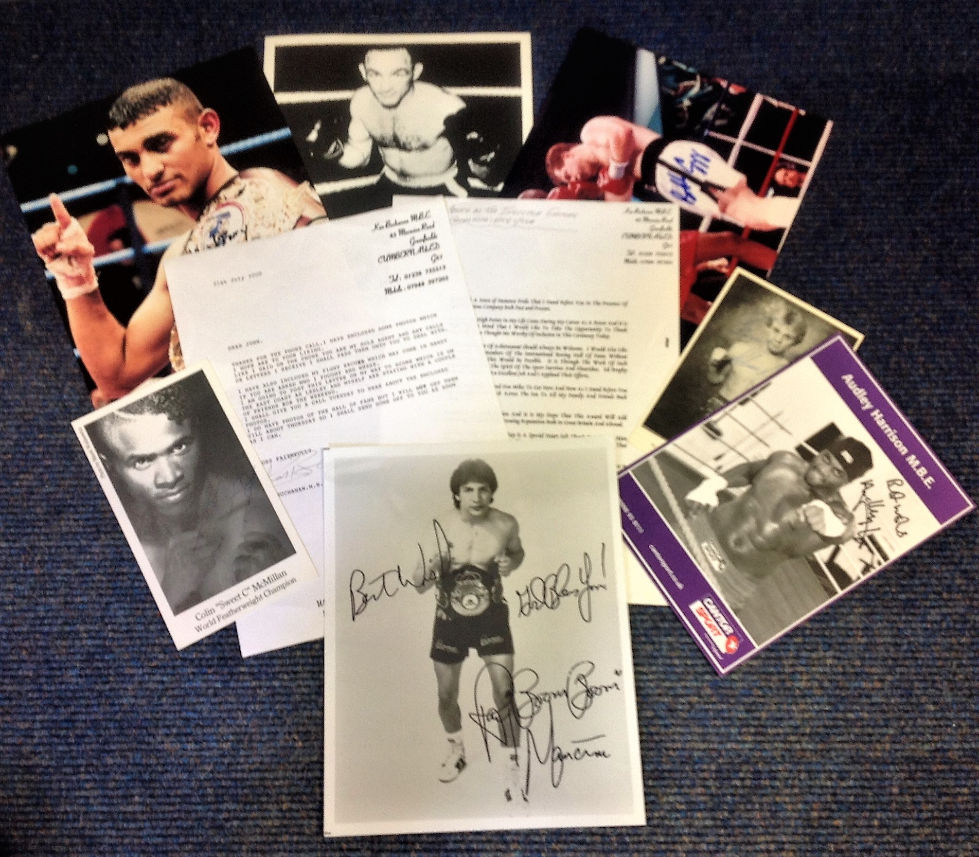 Lot 10 - Boxing Collection includes colour and b/w photos , TLS and signature pieces from some legendary