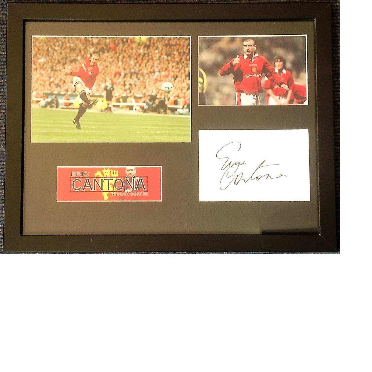 Lot 42 - Football Eric Cantona 14x17 framed and mounted signature piece includes Two colour photos and signed