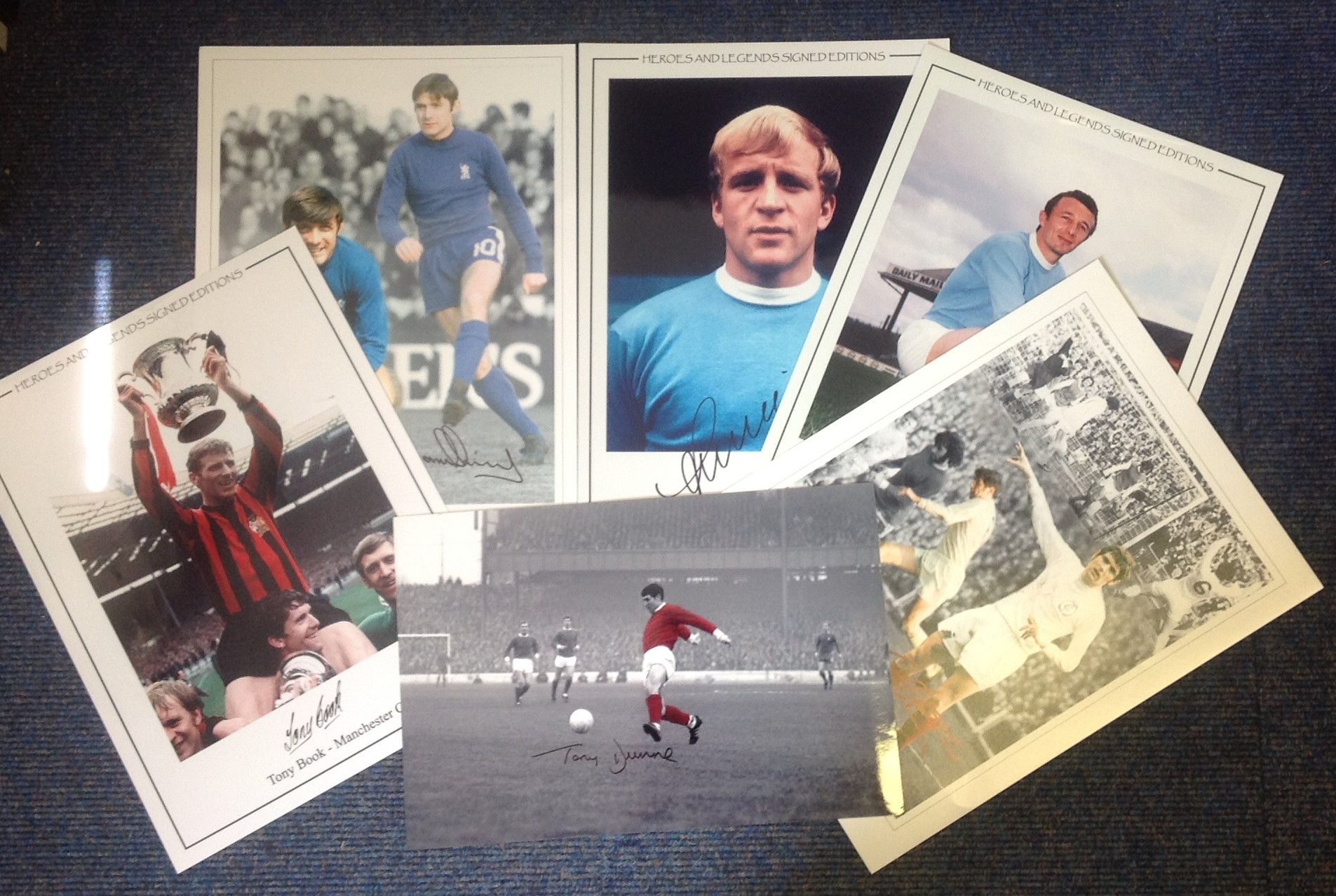 Lot 13 - Football Legends collection 6, 16x12 montage colour and enhanced photos signed by legends such as