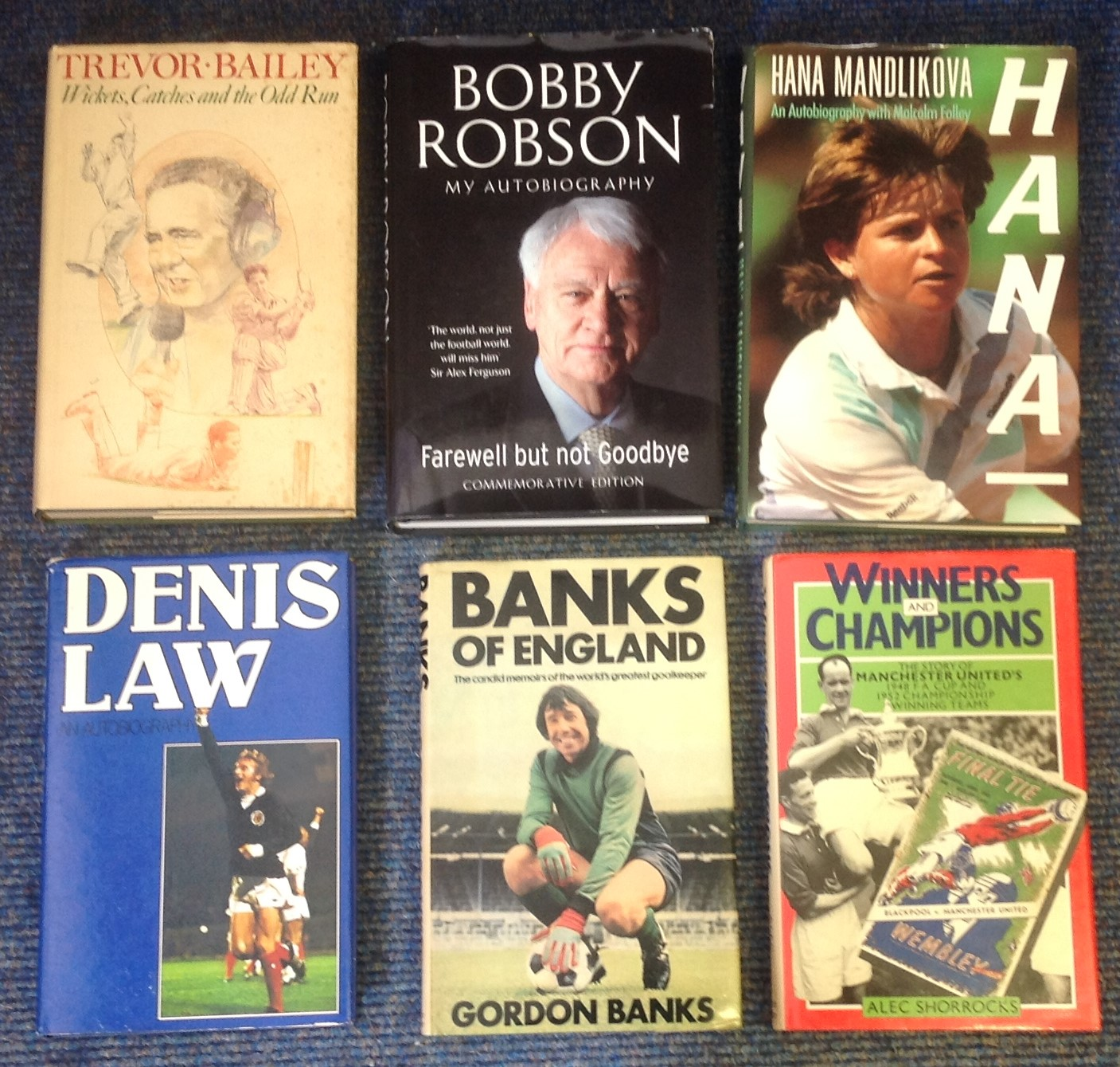 Lot 15 - Sport Book collection, 6 signed hard back books includes signatures from Bobby Robson, Denis Law,