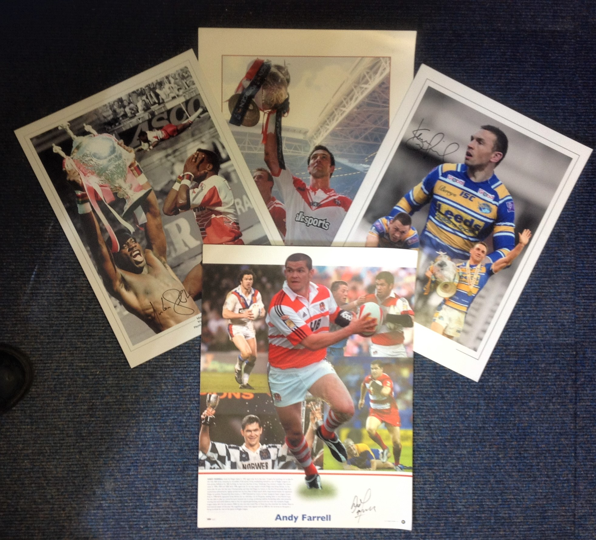 Lot 7 - Rugby League legends collection four superb 16x12 signed colour montage photos from four of Englands
