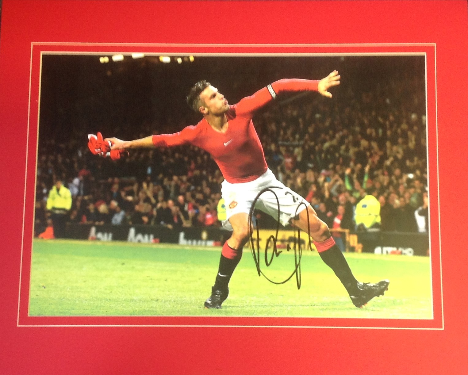 Lot 56 - Football Robin Van Persie signed 16x20 mounted colour photo pictured celebrating for Manchester