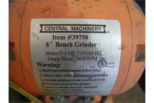 Remarkable Central Machinery Bench Grinder Model 39798 8 3 4 Hp Creativecarmelina Interior Chair Design Creativecarmelinacom