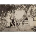Gloeden, Wilhelm von: Two male nudes on bench