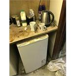 Contents of Kitchen Equipment, including microwave, kettle, single door refrigerator and twin seat