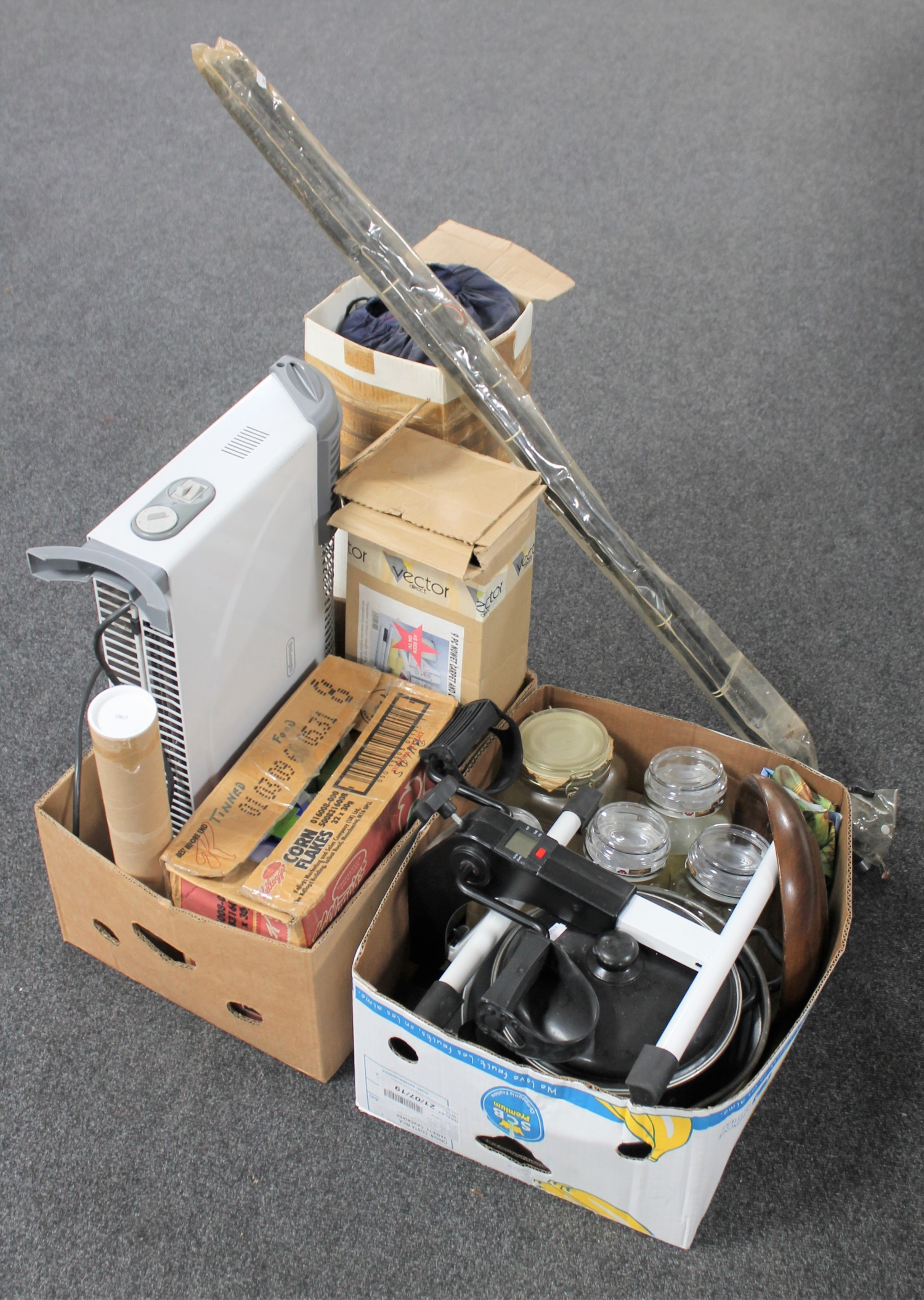 Lot 146 - Two boxes of kitchen storage jars, coffee jars, slow cooker, panel heater,