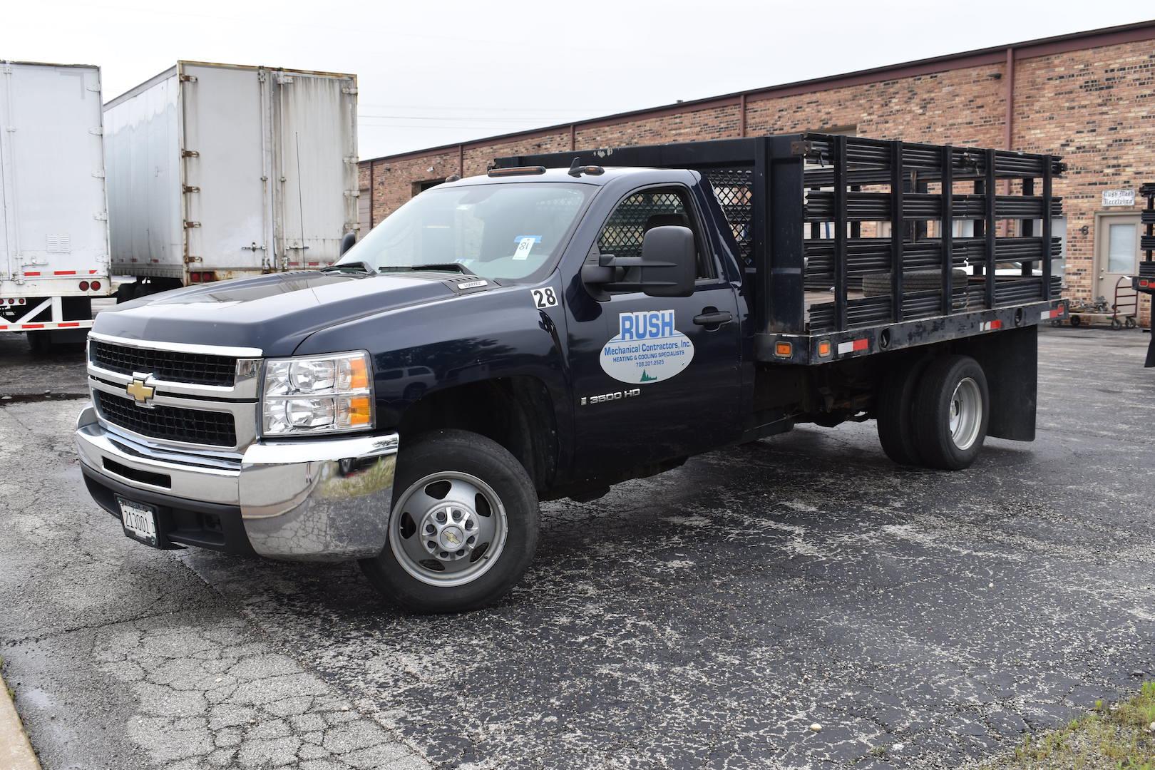 Lot 81 - 2008 Chevrolet Model 3500HD Single-Axle Stake Bed Truck, VIN 1GBJC34K78E206668, Approx. 99,000