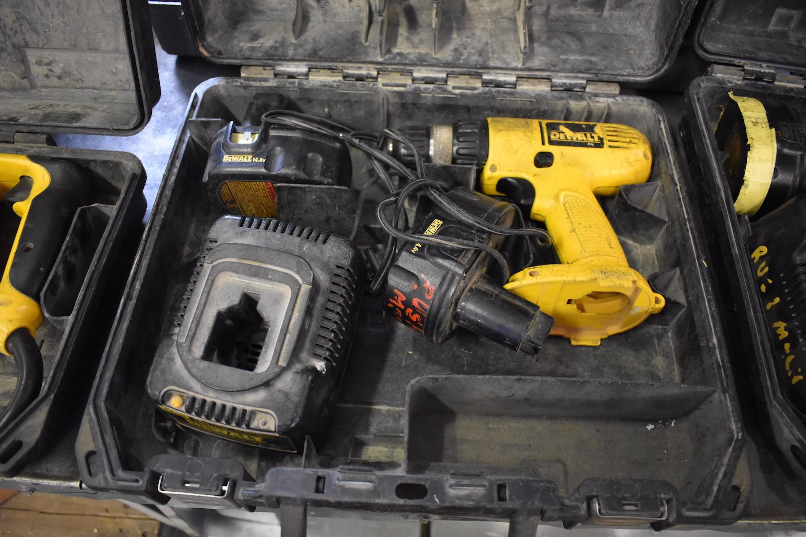 "Lot 4 - Dewalt Model DW328 3/8"" Variable Speed Cordless Drill/Driver"