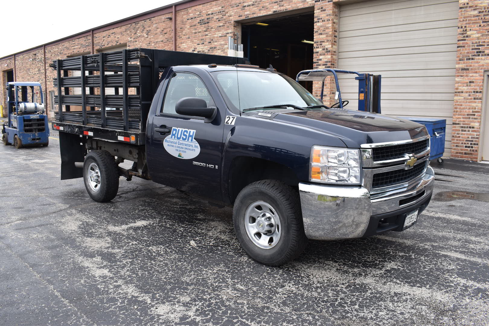 Lot 82 - 2008 Chevrolet Model 3500HD Stake Bed Truck, VIN 1GBHC34KX8E167752, Approx. 126,000 Miles, 9 ft.