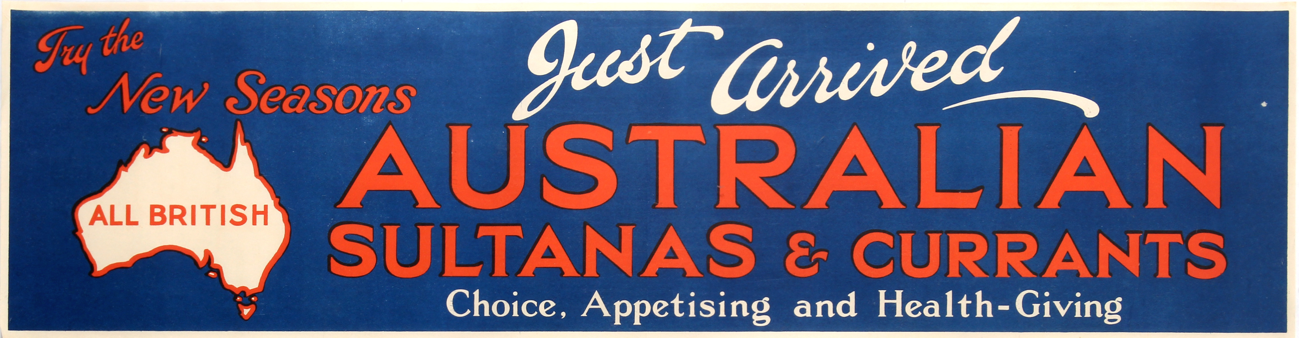 Advertising Poster Australian Sultanas Currants