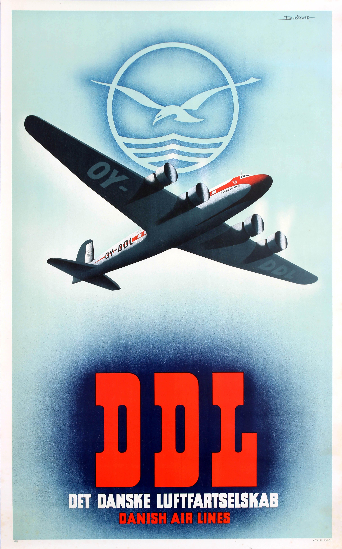 Airline Poster DDL Danish Air Lines Bjorvig Douglas DC 6