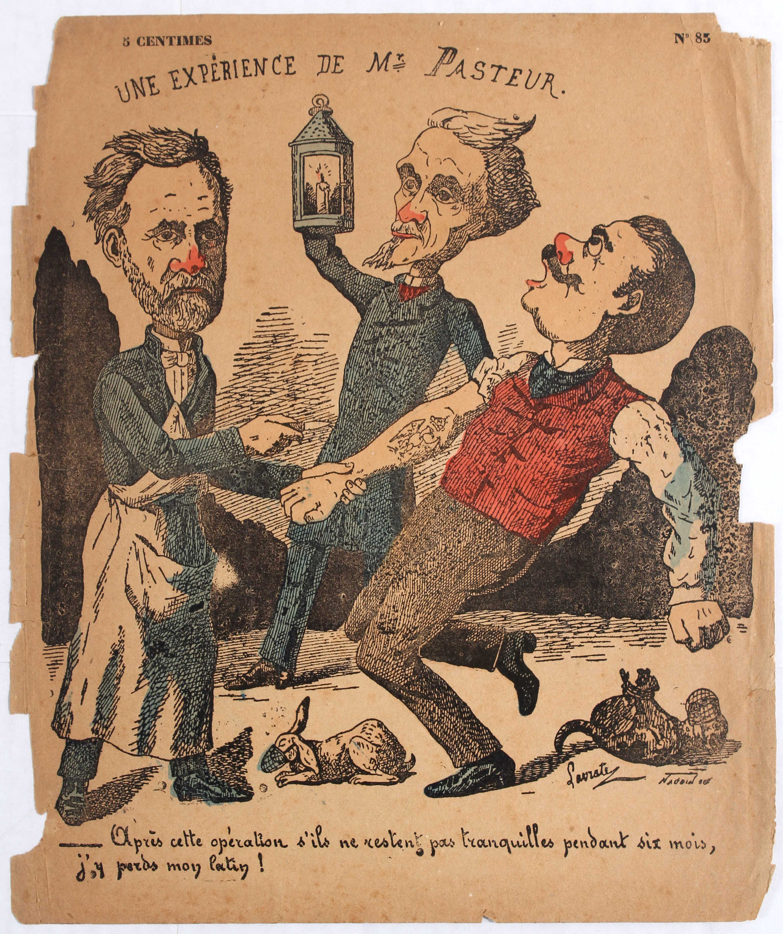Advertising Poster Caricature Lavrate An experiment Pasteur