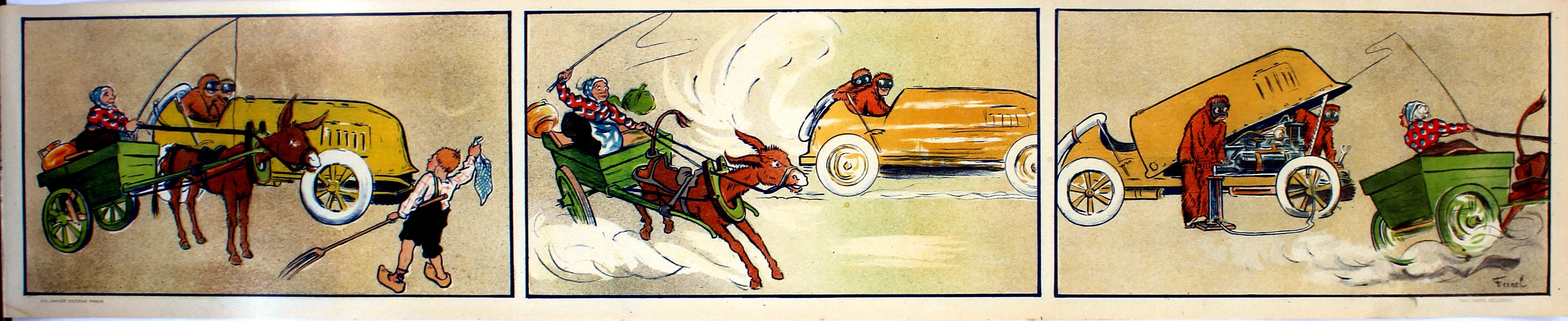 Advertising Poster Motoring Car Vs Donkey Cart