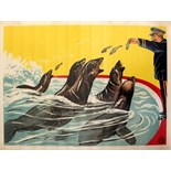 Advertising Poster Fairground Sea Lions Eating Fish
