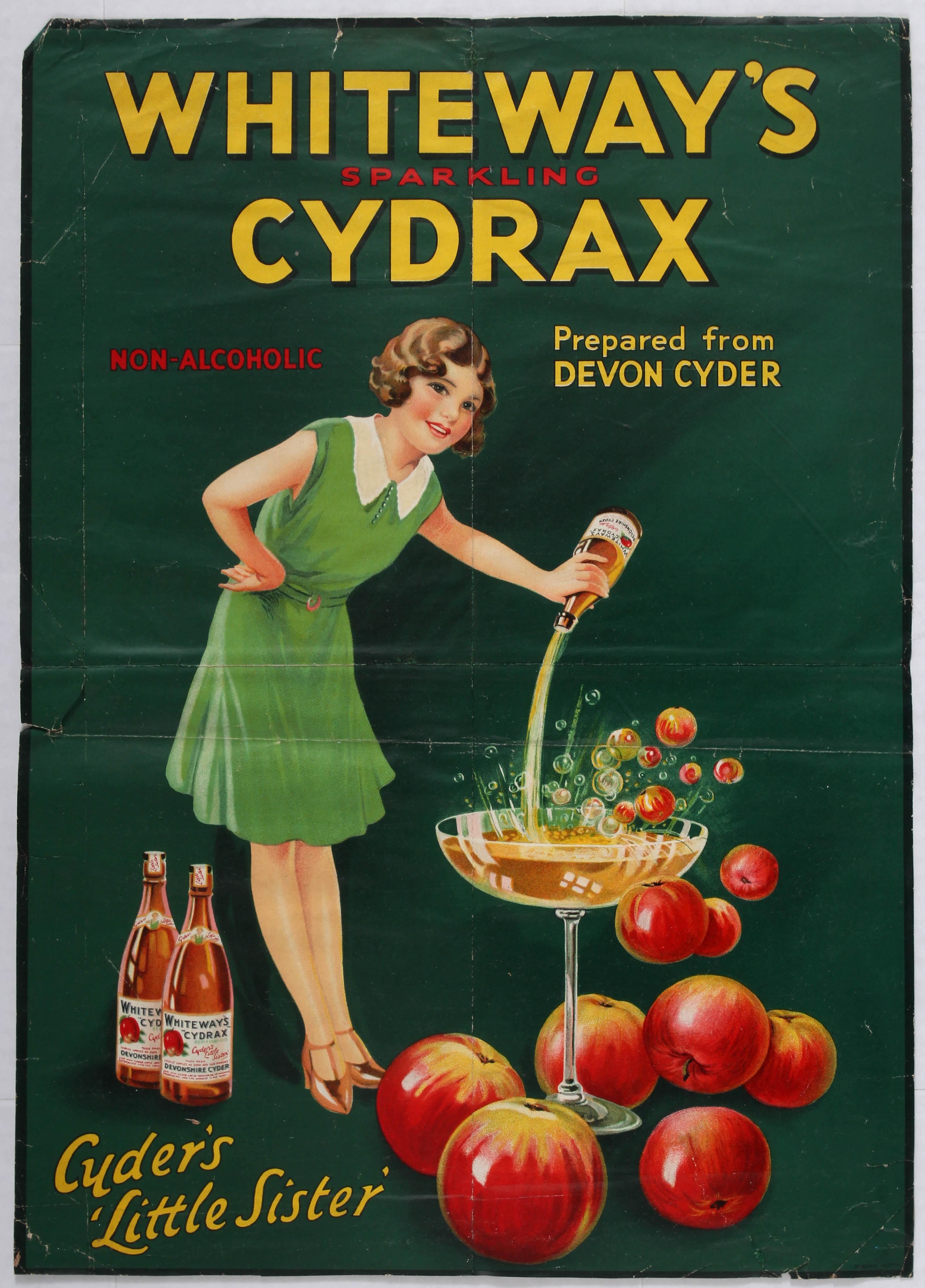Advertising Poster Devon Cider Whiteways Sparkling Cydrax