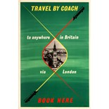 Advertising Poster Travel by Coach Britain via London