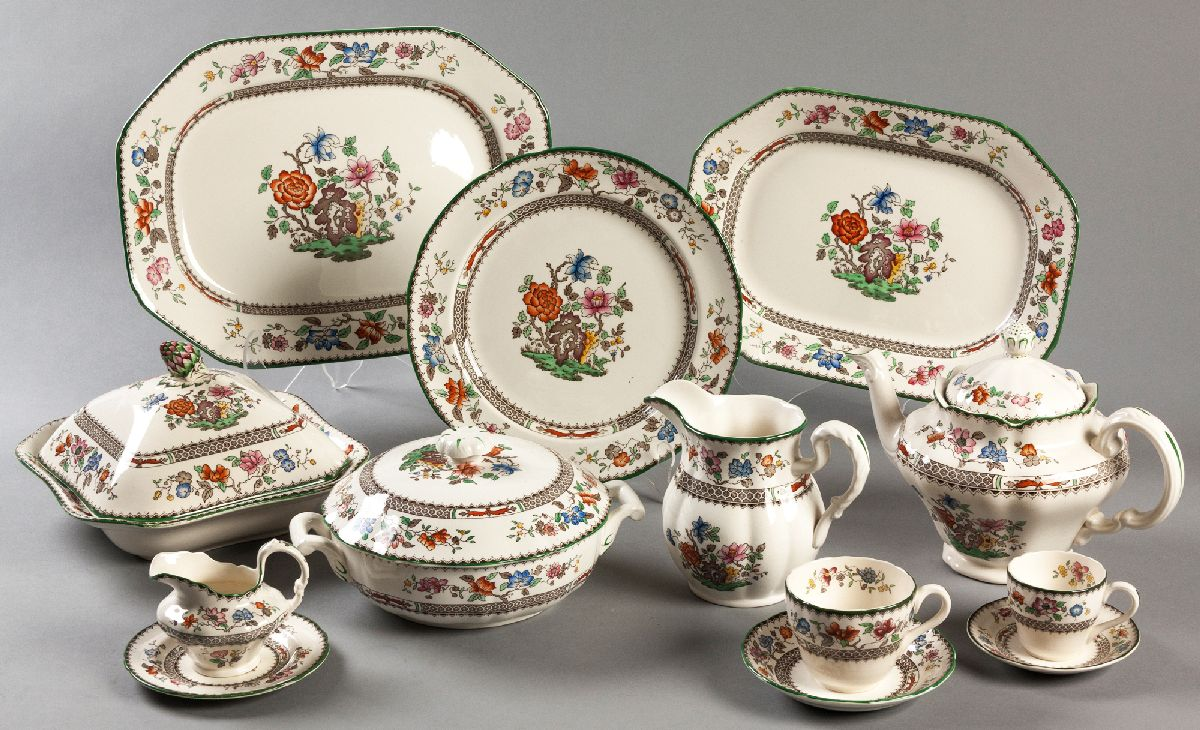 """Lot 61 - A COPELAND SPODE """"CHINESE ROSE"""" DINNER SERVICE, comprising"""" of 16 dinner plates, 18 salad plates, 18"""