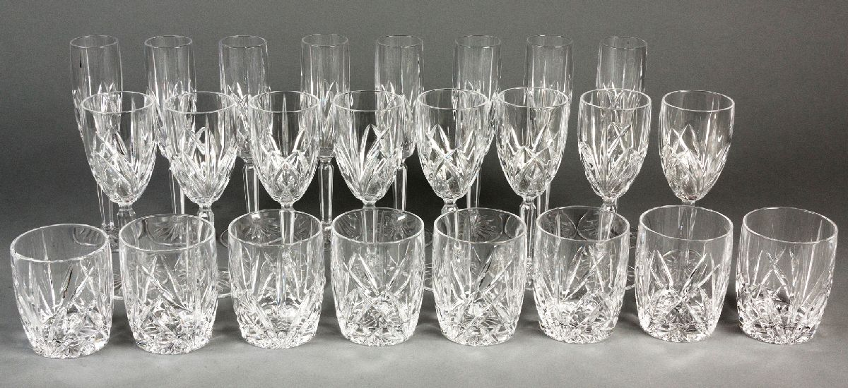 "Lot 58 - A SUITE OF WATERFORD ""MARQUIS"" PATTERN DRINKING GLASSES, comprising: of 9 champagne flutes, 8"