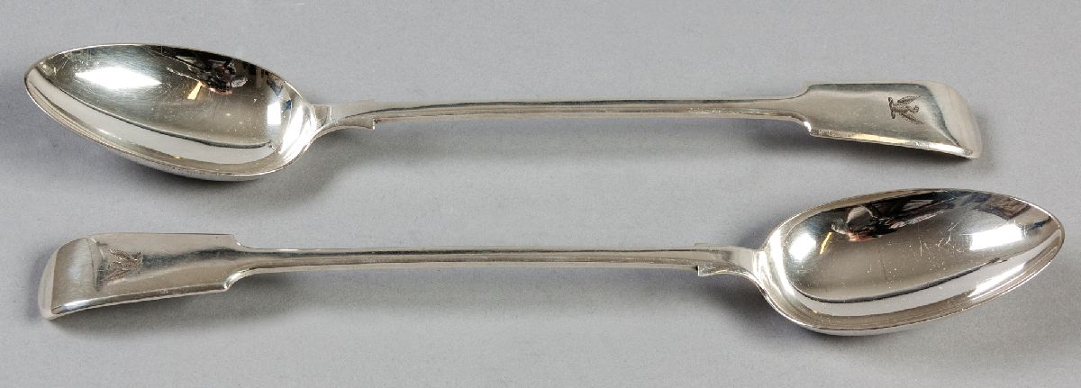 Lot 44 - A PAIR OF SILVERPLATE FIDDLE PATTERN BASTING SPOONS, handles engraved with an eagle, 32.5cm (