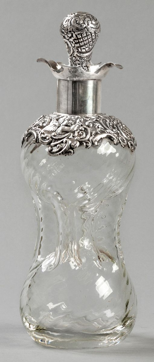 Lot 50 - A GEORGE VI SILVER AND GLASS GLUG-GLUG DECANTER, SHEFFIELD 1920, MAKER'S MARKS INDECIPHERABLE, the