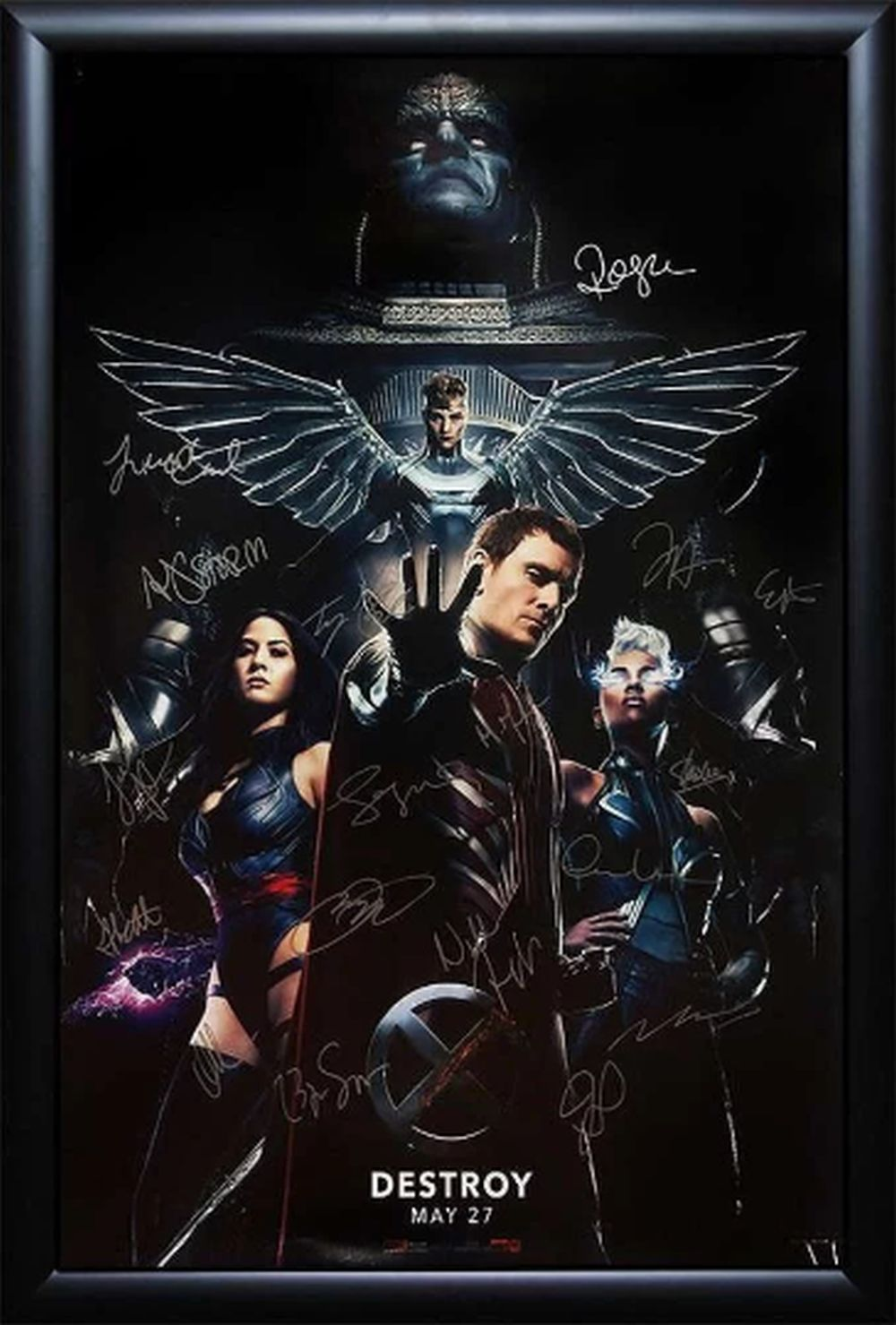 X-Men Apocalypse - Signed by Cast Movie Poster in Wood Frame