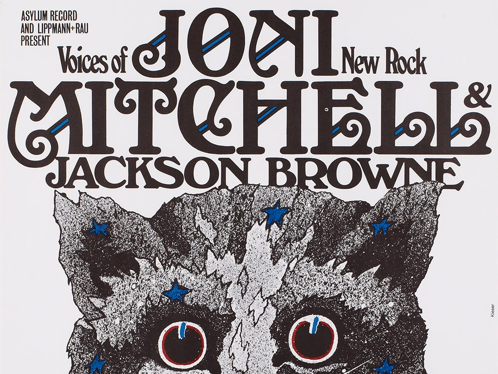 """Lot 48 - Great concert poster """"Joni Mitchell"""" by Guenther Kieser, 1972Germany, around 1972Offset print on"""