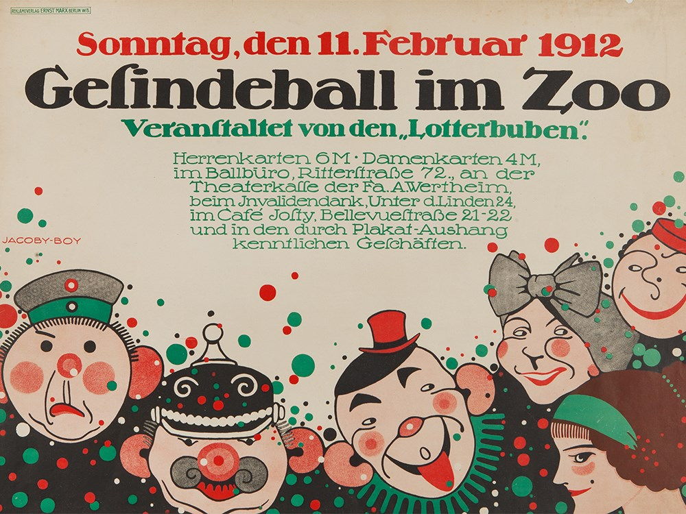 Martin Jacoby-Boy, Poster 'Gesindeball im Zoo', 1912Colour lithography on paperGermany / Berlin,