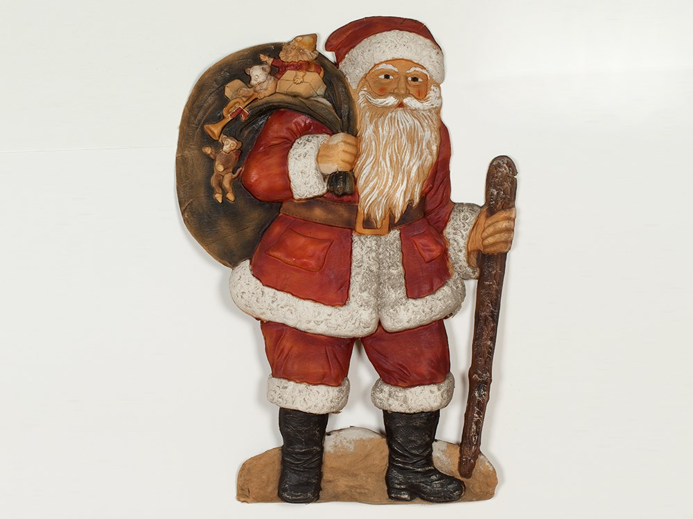 Lot 22 - Decorative Father Christmas, Papier-mâché, Germany, around 1900 Die cut, embossed and hand-painted