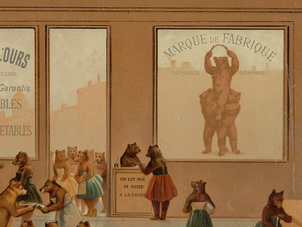 "Lot 51 - Buscs à L'Ours Poster ""Bears Shopping"", France, c. 1910 Colour lithography on paperFrance / Paris,"