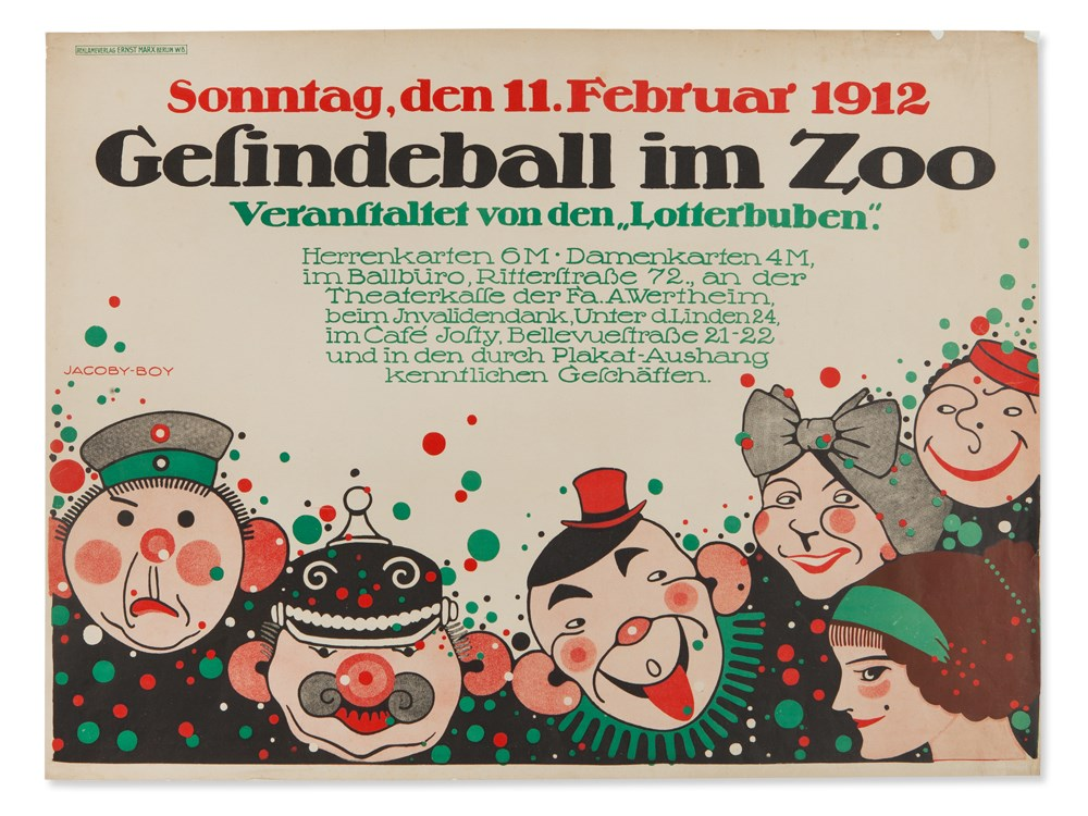 Martin Jacoby-Boy, Poster 'Gesindeball im Zoo', 1912Colour lithography on paperGermany / Berlin, - Image 2 of 7