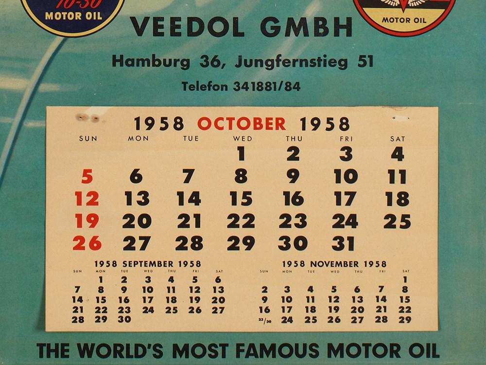 "Lot 33 - Rare Promotional Calendar by ""Veedol"", Germany, 1958 Offset printGermany, 1958Design by Else von"