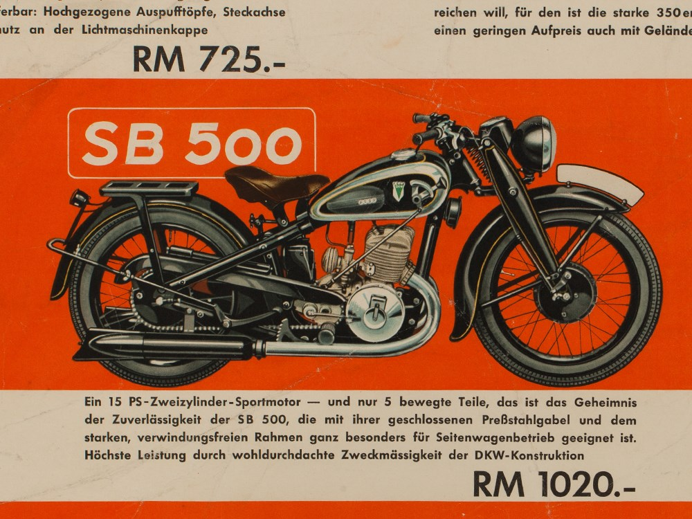 Lot 32 - Signed advertising poster DKW motorcycles, 1938/39Germany, 1938/39Offset print on paperSigned