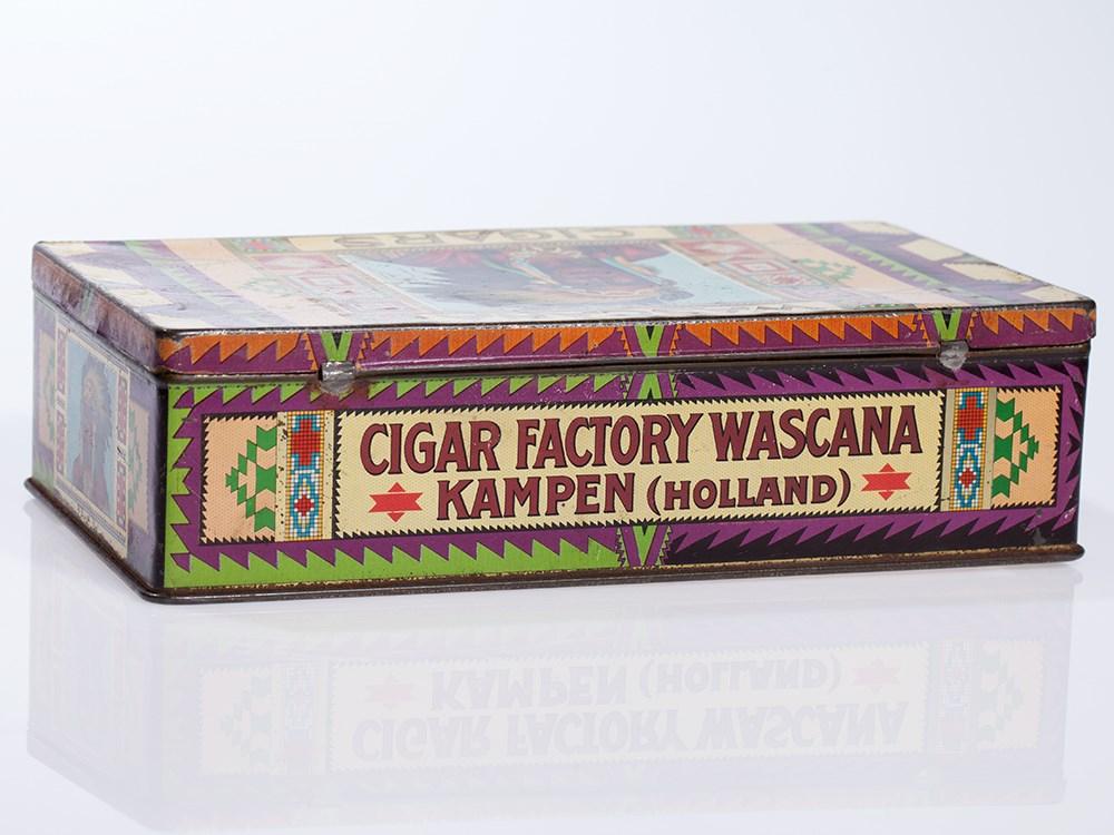 Lot 5 - Rare Wascana Cigars Tin Box, Holland, around 1920 Holland, around 1920Lithographed tin with gold