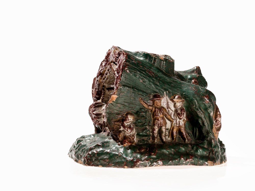 Lot 16 - Enameled Christmas Tree Stand with Nativity, around 1912 Enameled clay Germany, around 1912