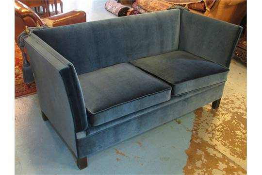 KNOLE SOFA, Circa 1950, Newly Upholstered In A Kingfisher Blue Velvet  Fabric With Brass Finials,