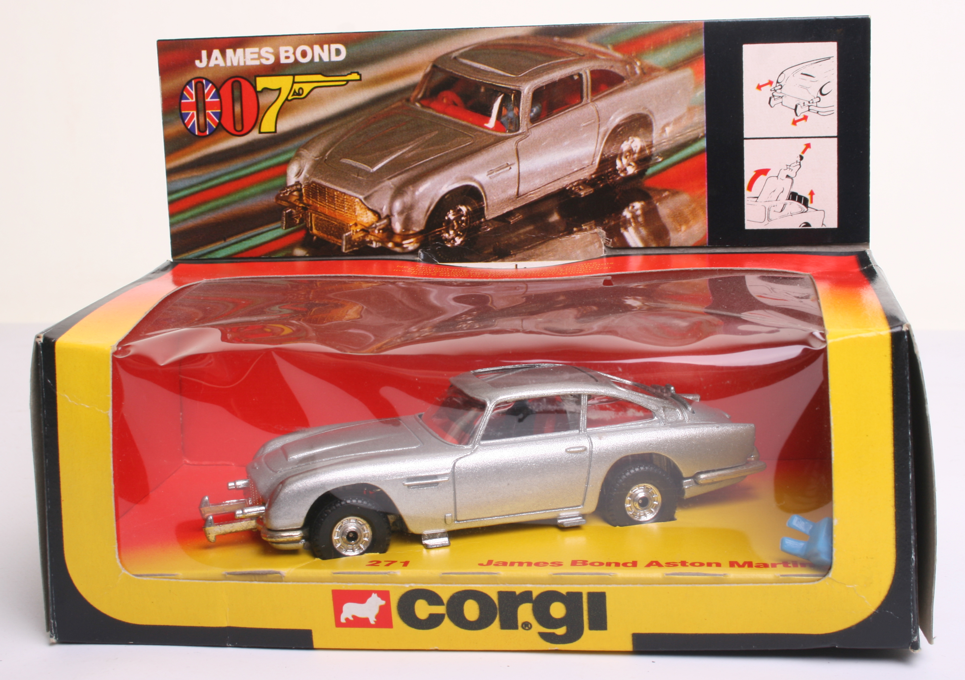 corgi toys 271 james bond aston martin db5, silver body, red