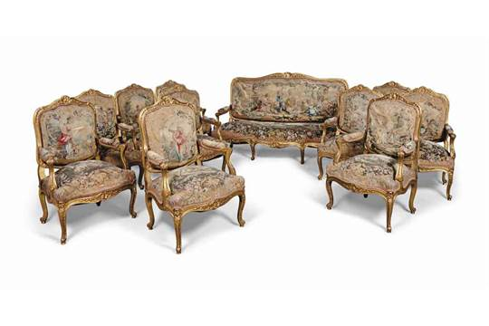 A FRENCH GILTWOOD SALON SUITE OF LOUIS XV STYLE, LATE 19TH CENTURY ...