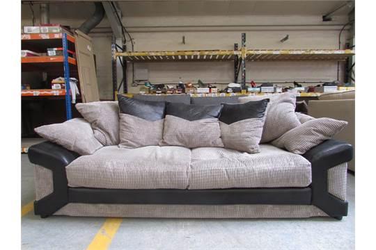 Half Fabric Half Snake Skin Leather Effect 3 Seater Sofa