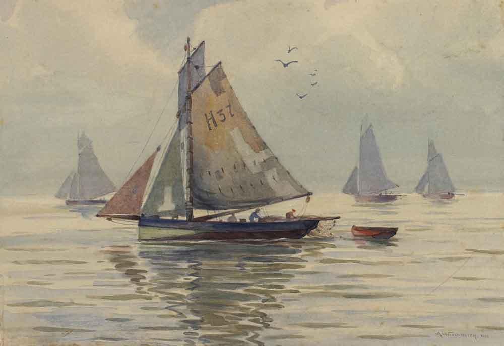 Lot 5390 - Wunderlich, Albert (1876 Geislingen - Stuttgart 1946). Segelboote auf dem Bodensee. Aquarell auf