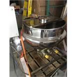 Approximately 50 Gal. Polished S/S Hemi Bottom Kettle, Self Contained Electric/Hot Oil Jacket.