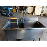 """48"""" / 24"""" - 14"""" Deep S/S Double Sink with Shower Rinse Hose (Located Port Byron, NY)"""