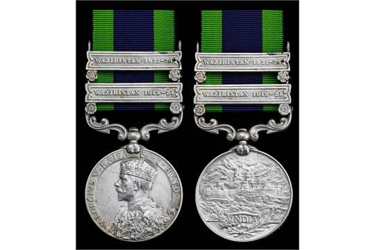 India General Service 1908-35, 2 clasps, Waziristan 1919-21