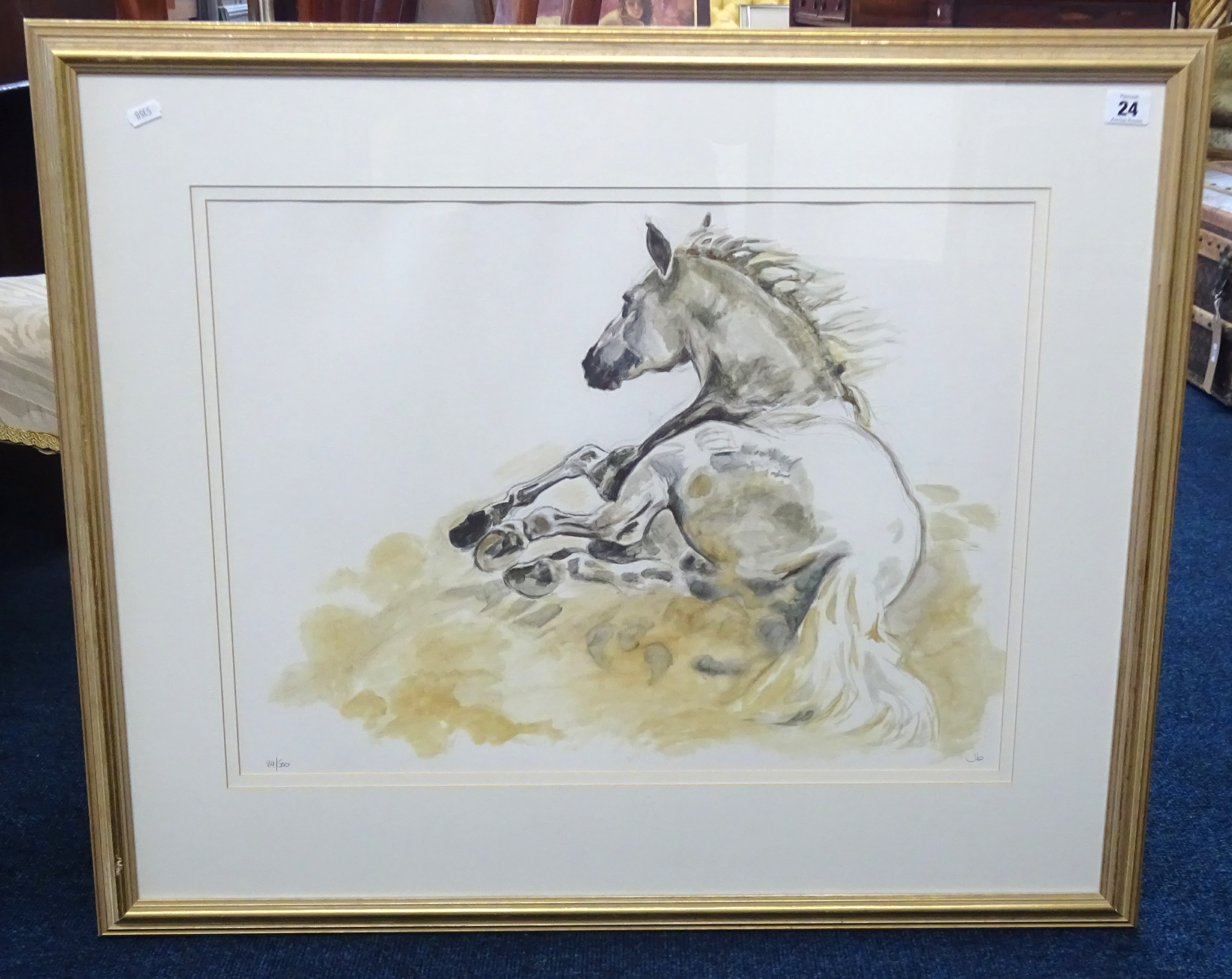 Lot 024 - Jennifer Brereton, limited edition print, horse study, number 84/ 500, framed and glazed, 43cm x