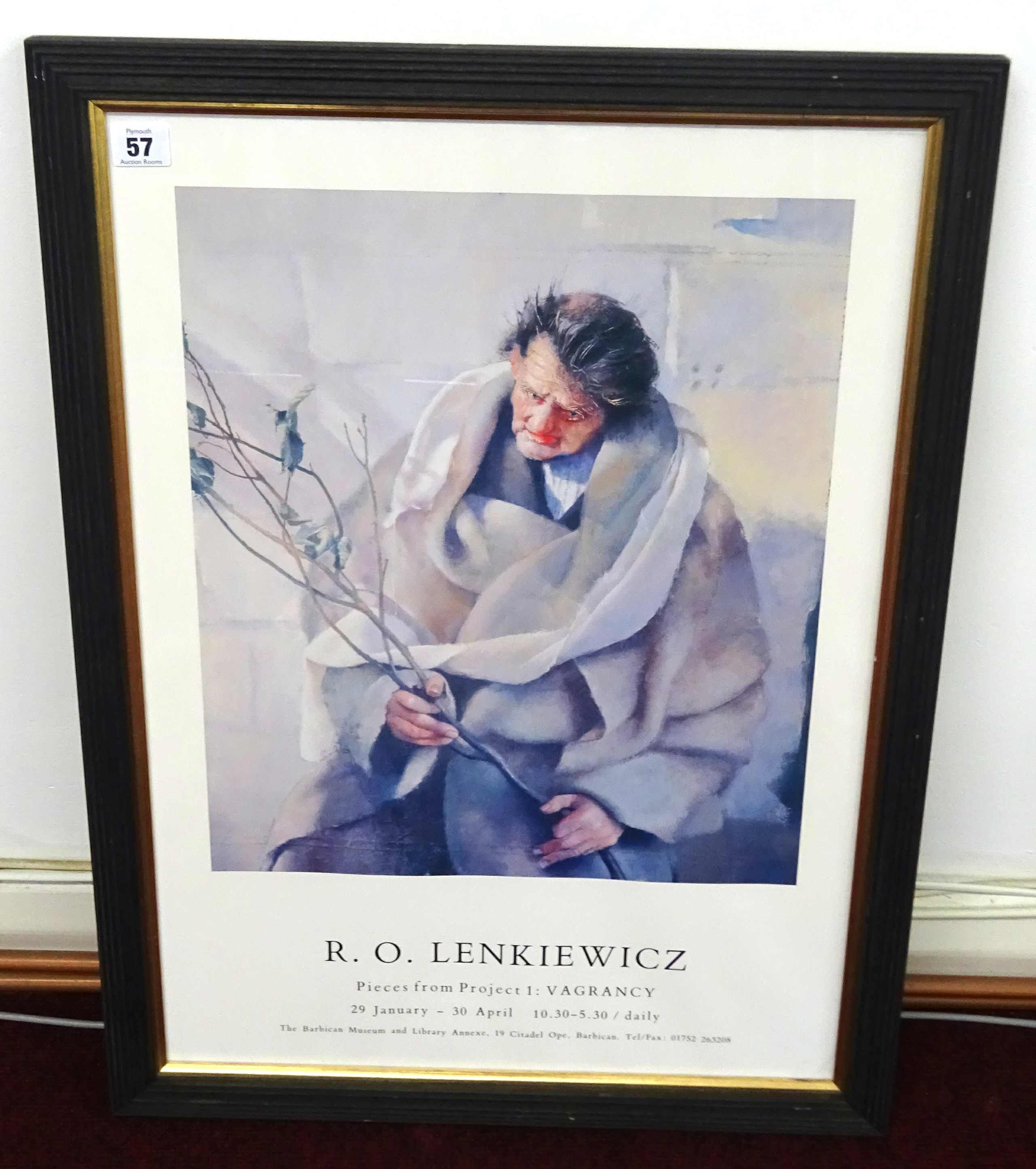 Lot 057 - Lenkiewicz Poster 'Project 1 Vagrancy', framed and glazed.
